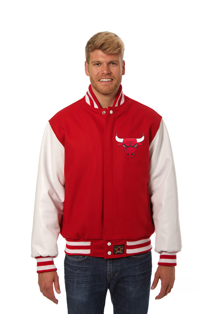 Chicago Bulls Mens Red wool body, leather sleeve jacket Heavyweight Jacket - Image 1