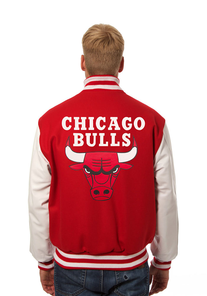 Chicago Bulls Mens Red wool body, leather sleeve jacket Heavyweight Jacket - Image 2