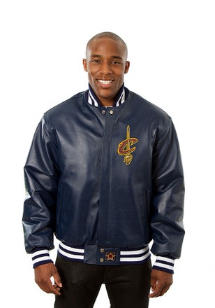 Cleveland Mens Navy Blue all leather jacket Heavyweight Jacket