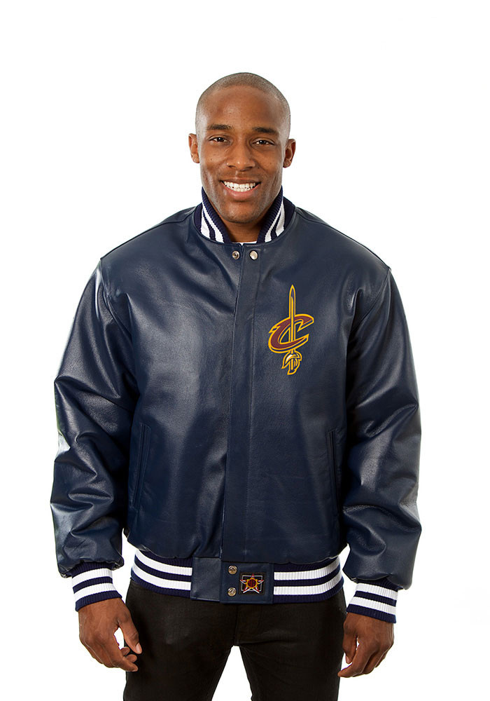 Cleveland Cavaliers Mens Navy Blue all leather jacket Heavyweight Jacket - Image 1