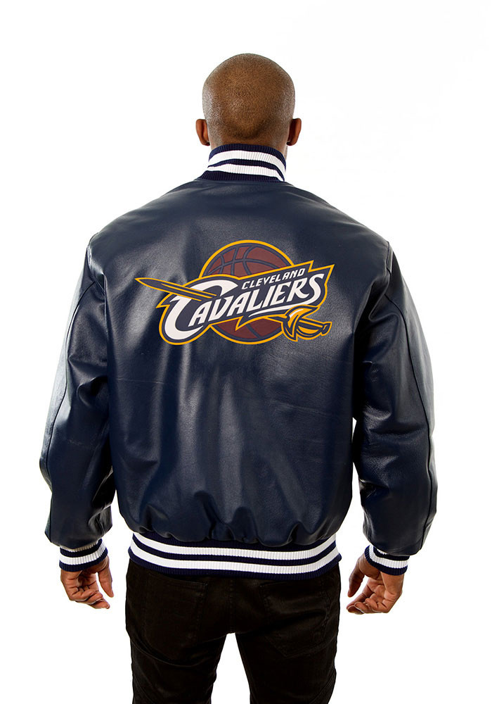 Cleveland Cavaliers Mens Navy Blue all leather jacket Heavyweight Jacket - Image 2