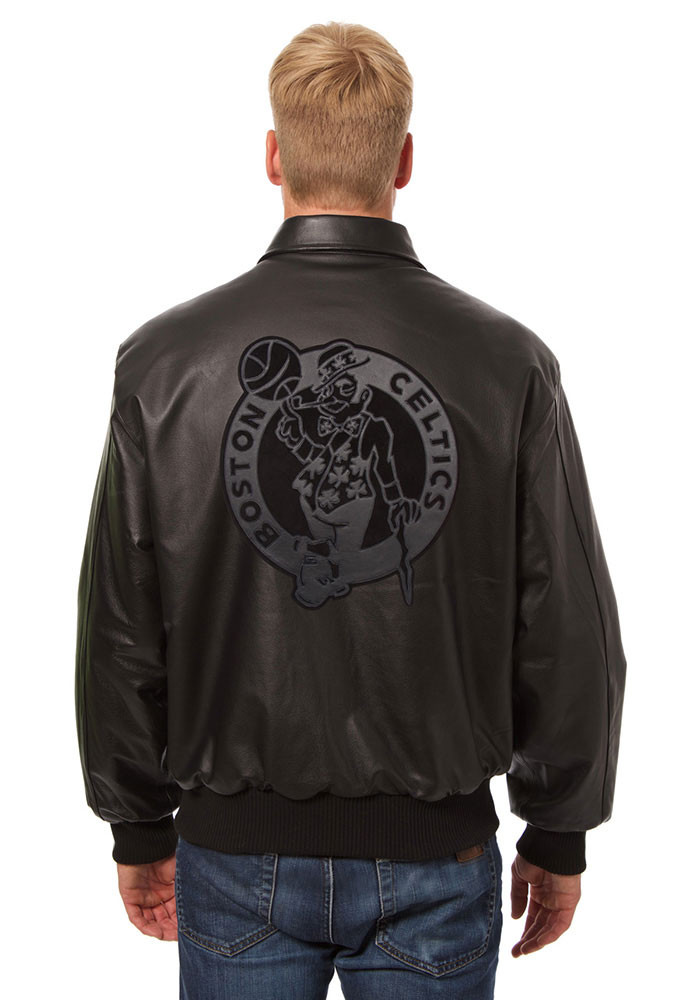 Boston Celtics Mens Black all leather jacket Heavyweight Jacket - Image 2