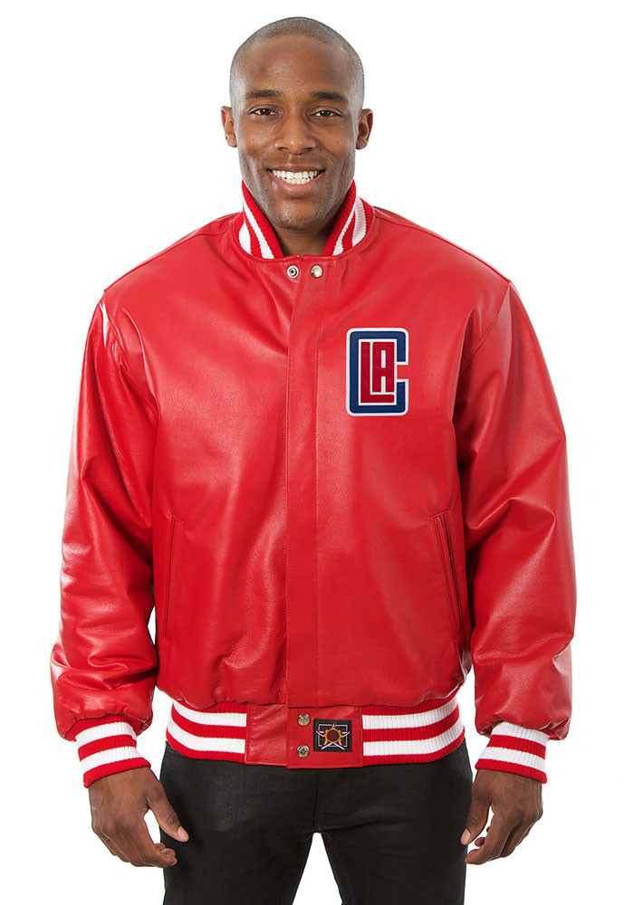 Los Angeles Clippers Mens Red all leather jacket Heavyweight Jacket - Image 1