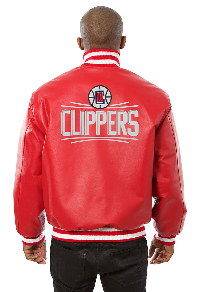 Los Angeles Clippers Mens Red all leather jacket Heavyweight Jacket - Image 2