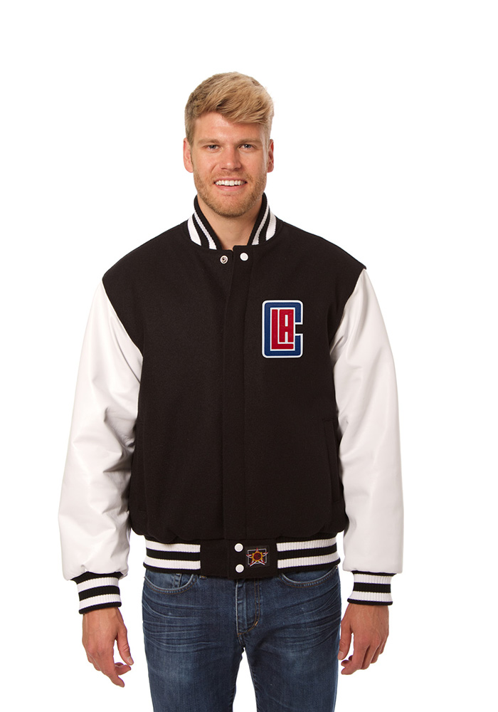 Los Angeles Clippers Mens Black wool body, leather sleeve jacket Heavyweight Jacket - Image 1