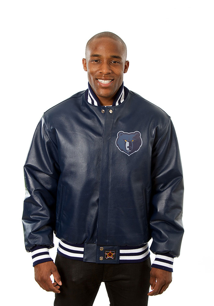 Memphis Grizzlies Mens Navy Blue all leather jacket Heavyweight Jacket - Image 1