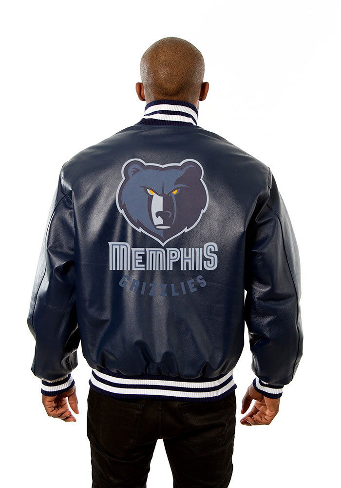 Memphis Grizzlies Mens Navy Blue all leather jacket Heavyweight Jacket - Image 2