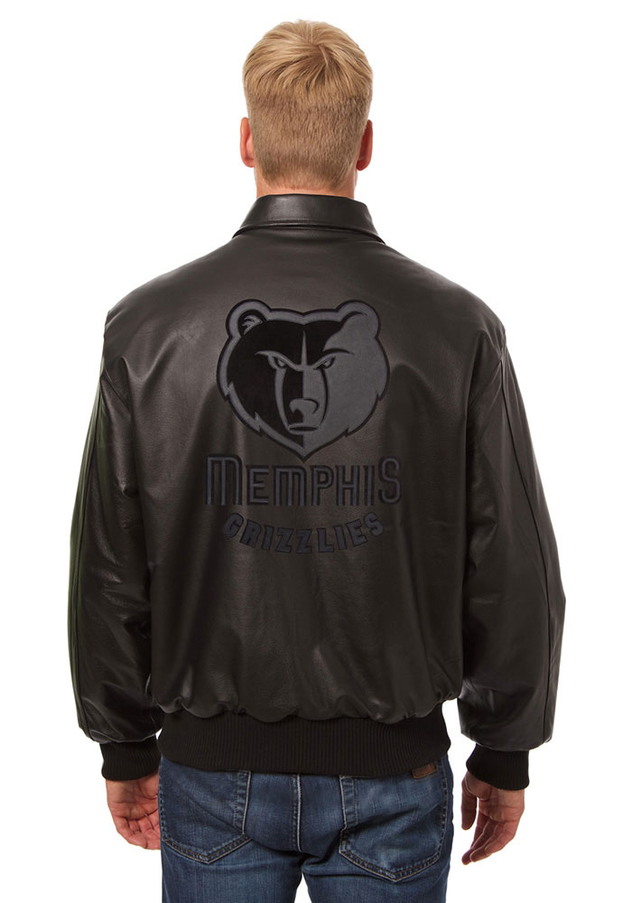 Memphis Grizzlies Mens Black all leather jacket Heavyweight Jacket - Image 2