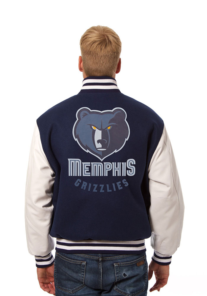 Memphis Grizzlies Mens Navy Blue wool body, leather sleeve jacket Heavyweight Jacket - Image 2
