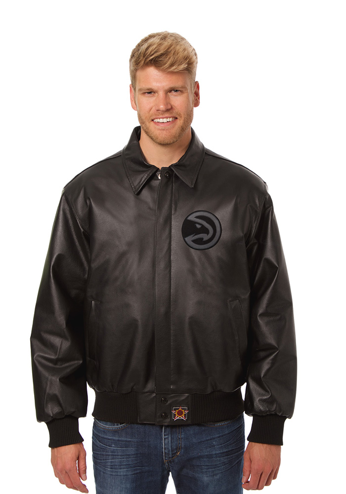 Atlanta Hawks Mens Black all leather jacket Heavyweight Jacket - Image 1