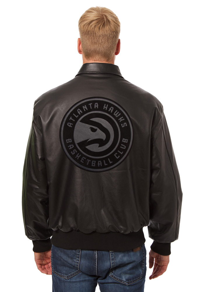 Atlanta Hawks Mens Black all leather jacket Heavyweight Jacket - Image 2