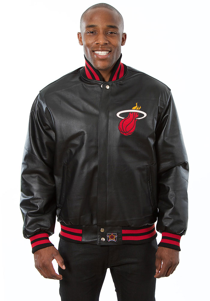Miami Heat Mens Black all leather jacket Heavyweight Jacket - Image 1
