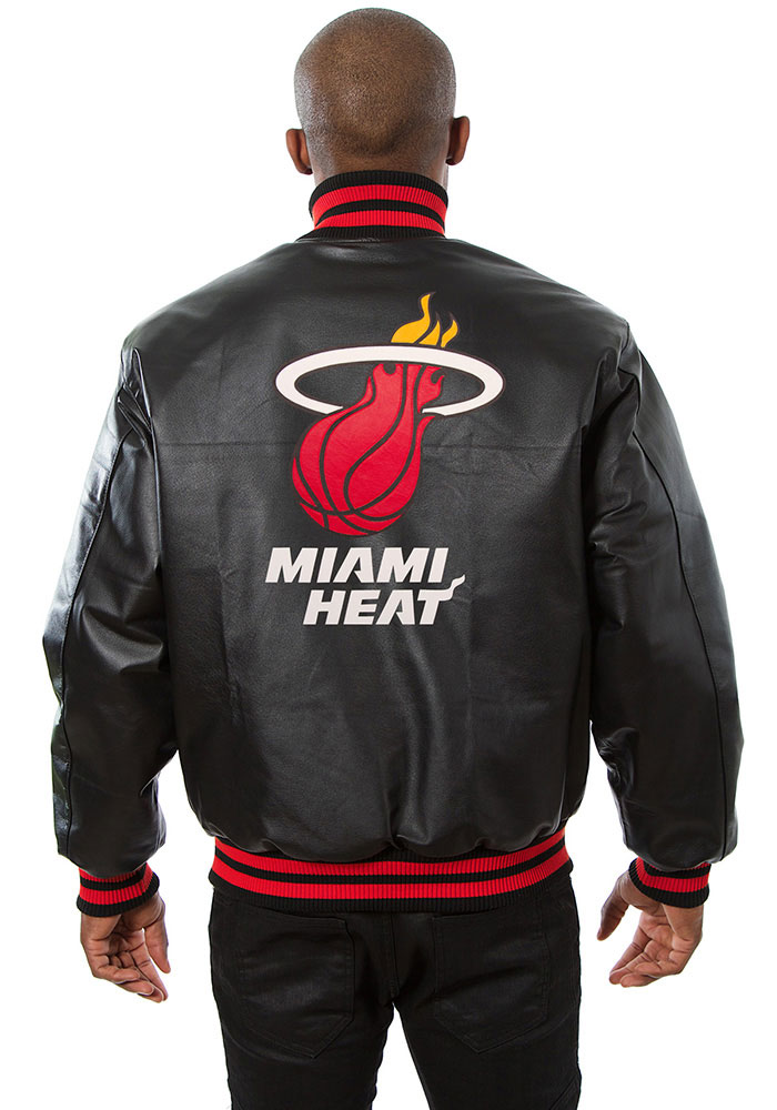 Miami Heat Mens Black all leather jacket Heavyweight Jacket - Image 2