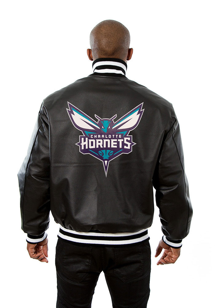 Charlotte Hornets Mens Black all leather jacket Heavyweight Jacket - Image 2