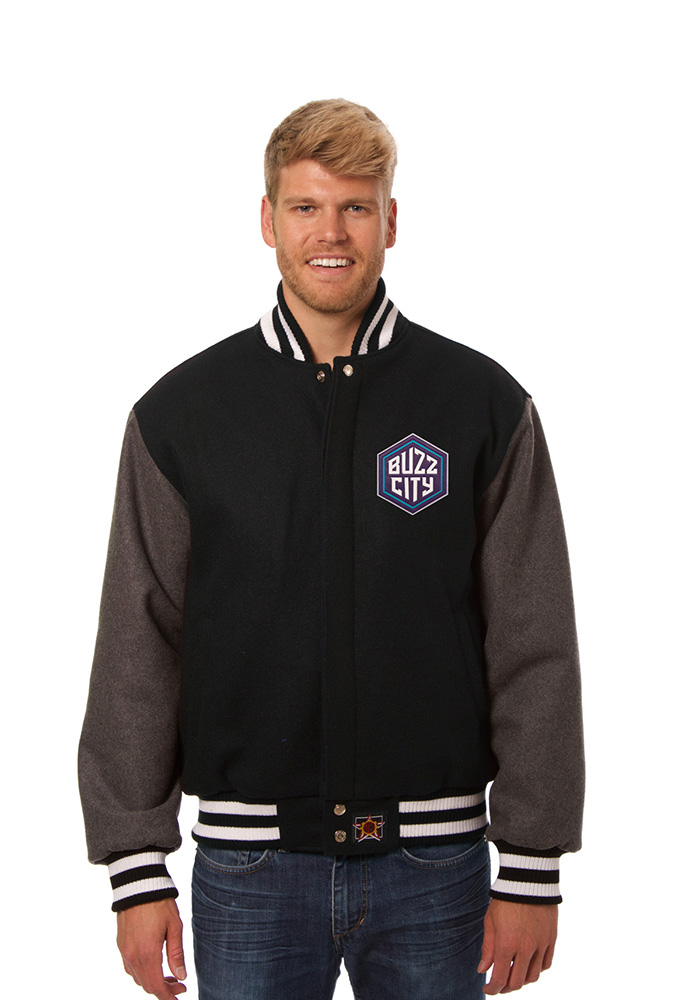 Charlotte Hornets Mens Black all wool jacket Heavyweight Jacket - Image 1