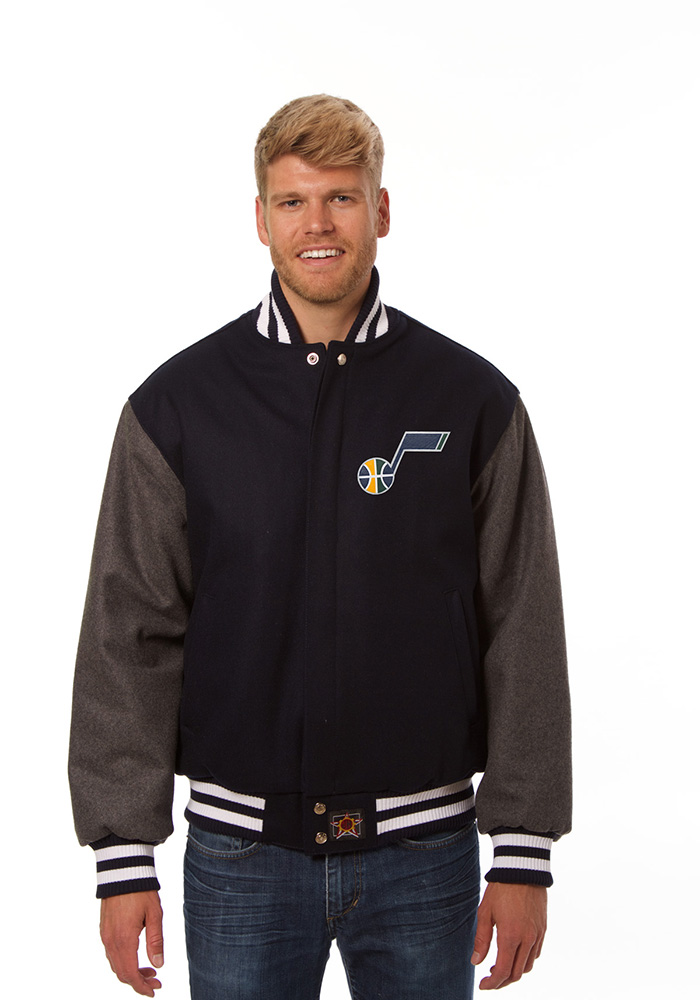 Utah Jazz Mens Blue all wool jacket Heavyweight Jacket - Image 1
