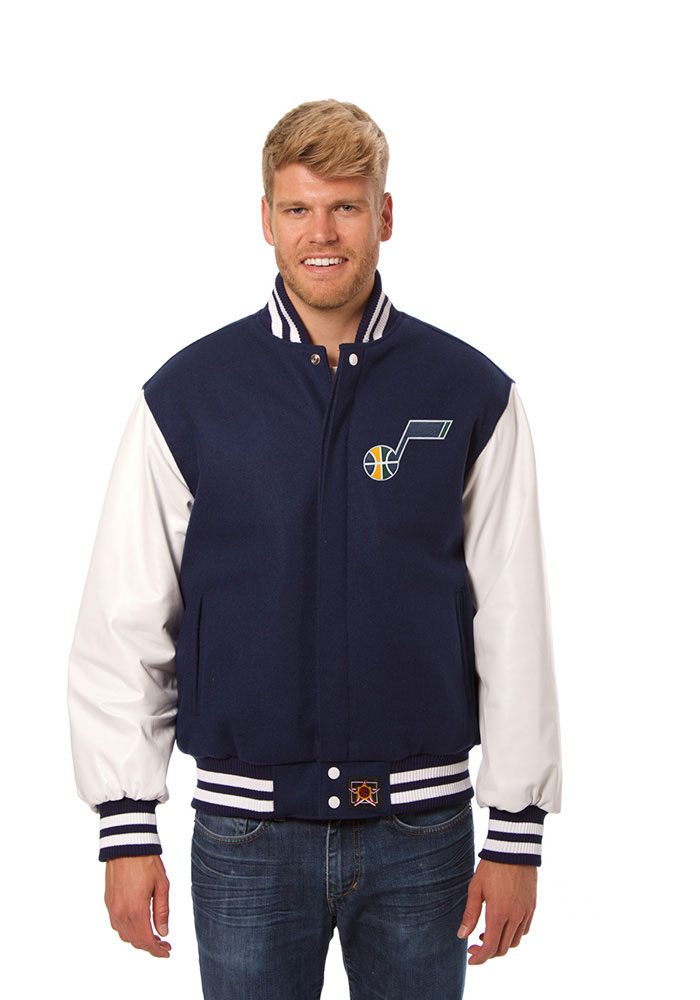 Utah Jazz Mens Navy Blue wool body, leather sleeve jacket Heavyweight Jacket - Image 1
