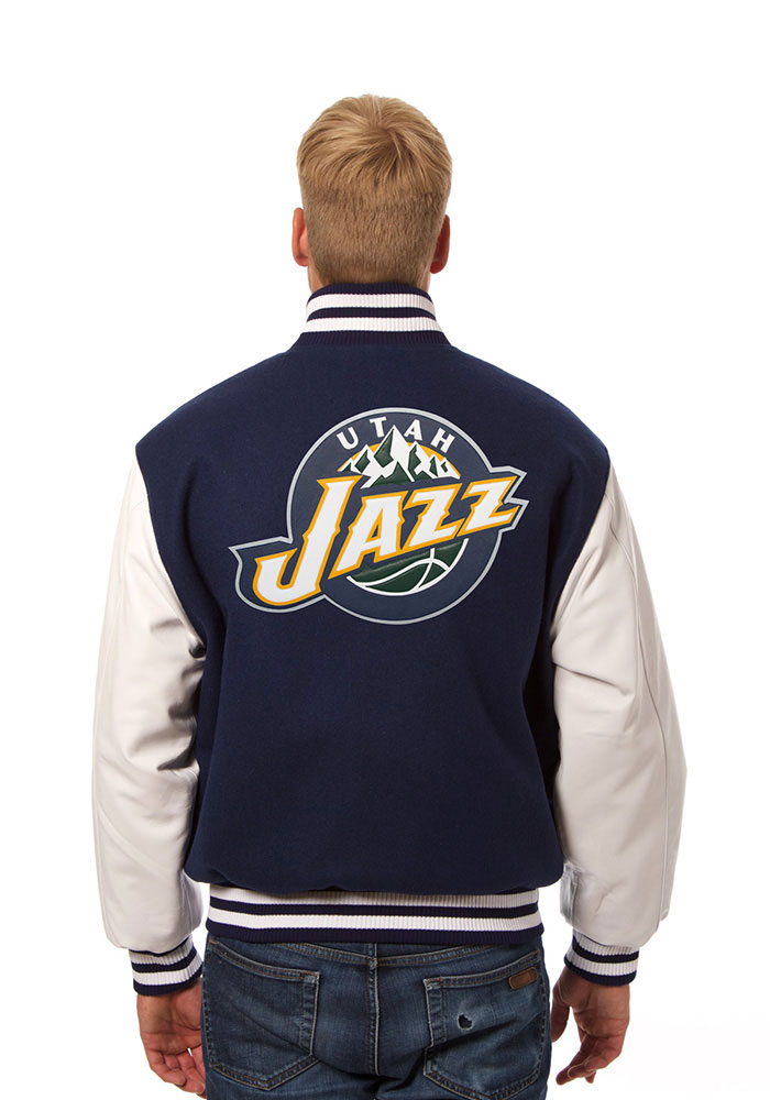 Utah Jazz Mens Navy Blue wool body, leather sleeve jacket Heavyweight Jacket - Image 2