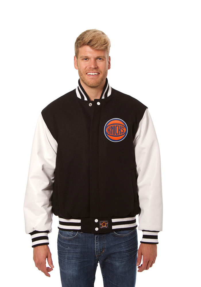 New York Knicks Mens Black wool body, leather sleeve jacket Heavyweight Jacket - Image 1