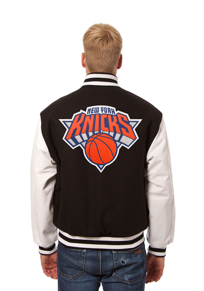 New York Knicks Mens Black wool body, leather sleeve jacket Heavyweight Jacket - Image 2