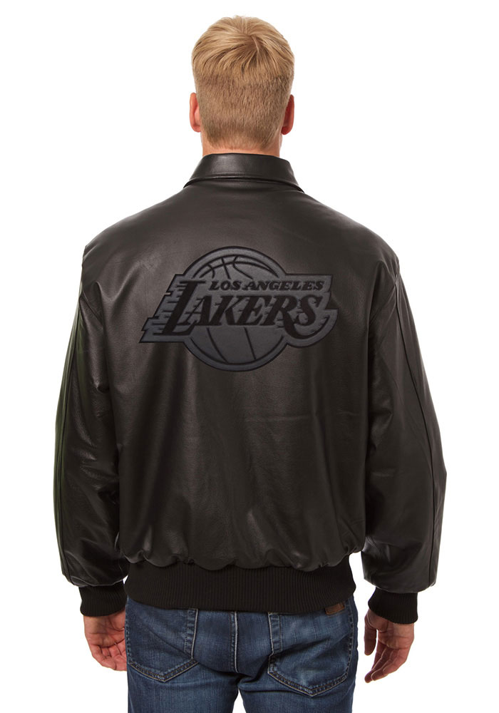 Los Angeles Lakers Mens Black all leather jacket Heavyweight Jacket - Image 2