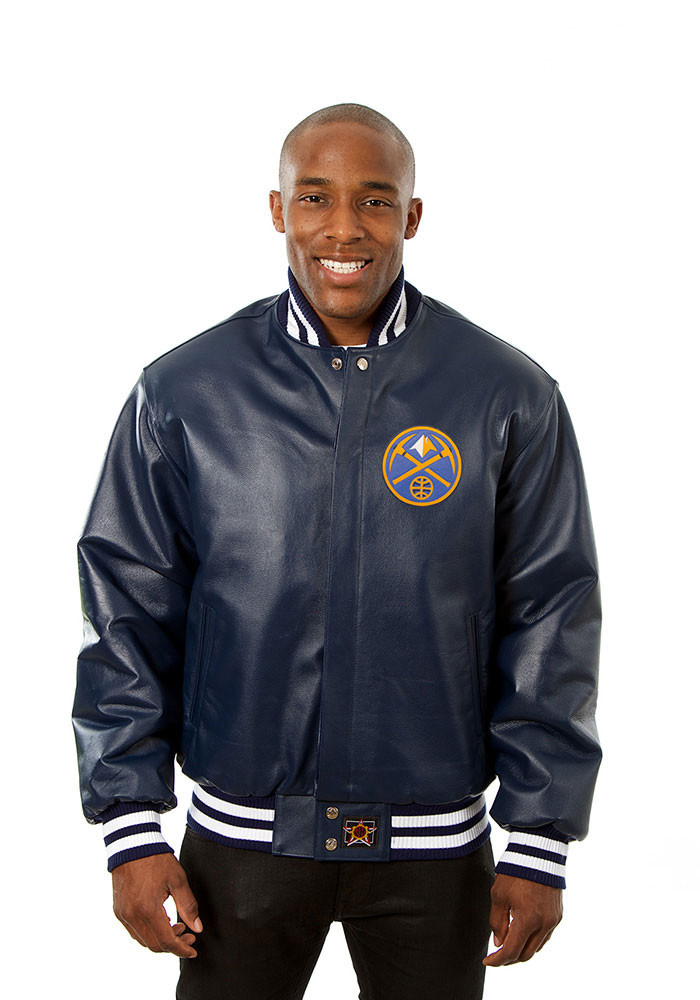 Denver Nuggets Mens Navy Blue all leather jacket Heavyweight Jacket - Image 1