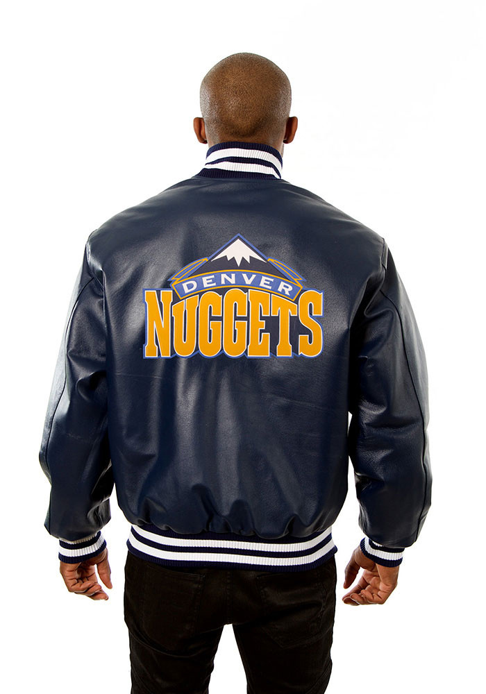 Denver Nuggets Mens Navy Blue all leather jacket Heavyweight Jacket - Image 2