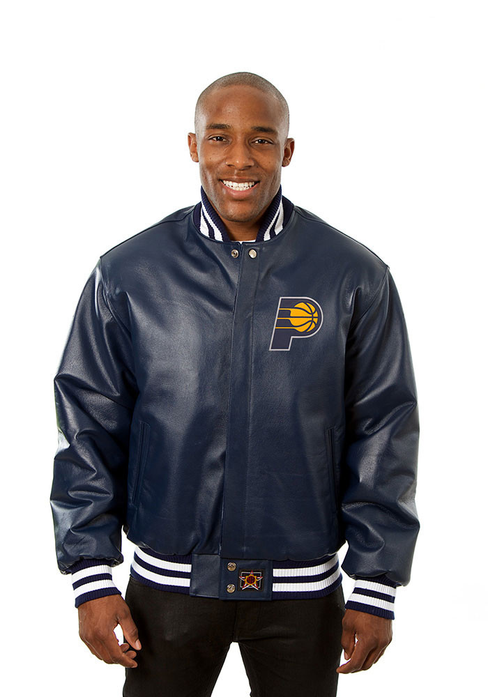 Indiana Pacers Mens Navy Blue all leather jacket Heavyweight Jacket - Image 1