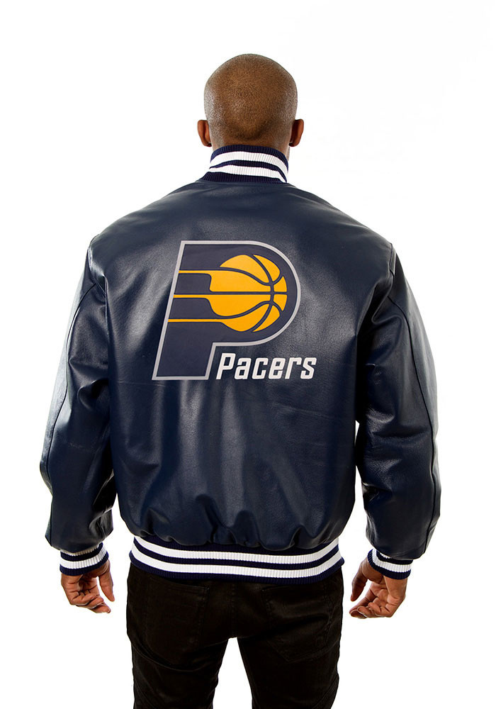 Indiana Pacers Mens Navy Blue all leather jacket Heavyweight Jacket - Image 2