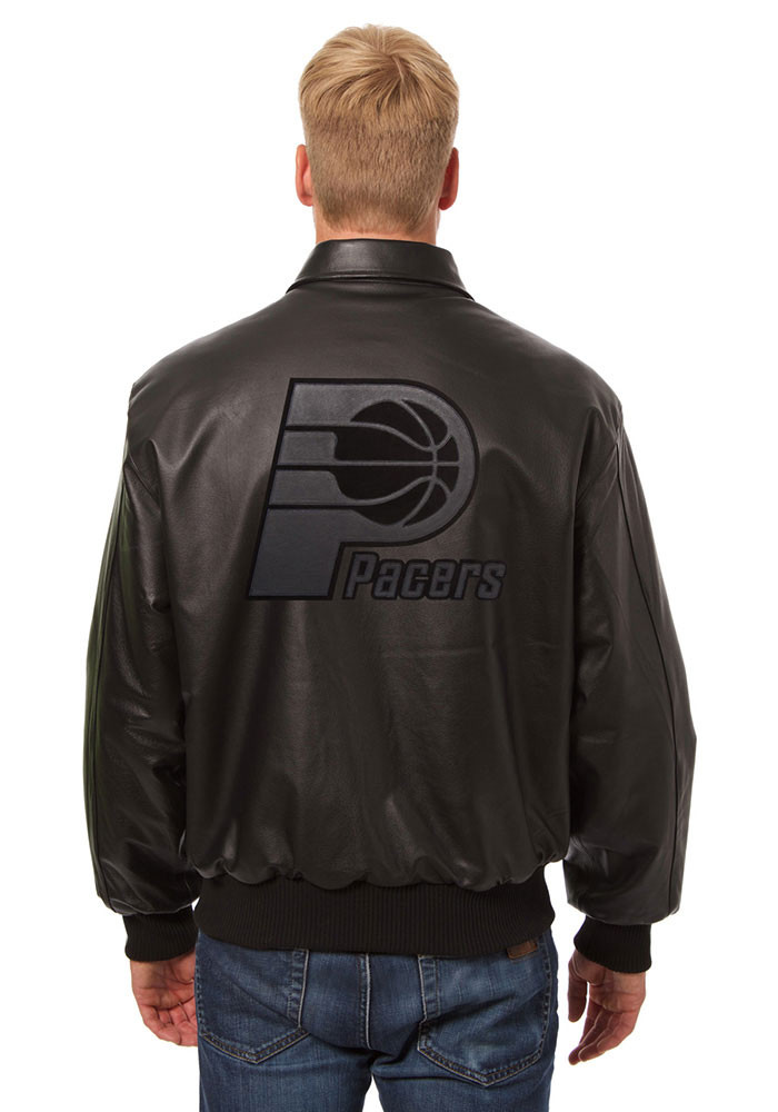Indiana Pacers Mens Black all leather jacket Heavyweight Jacket - Image 2