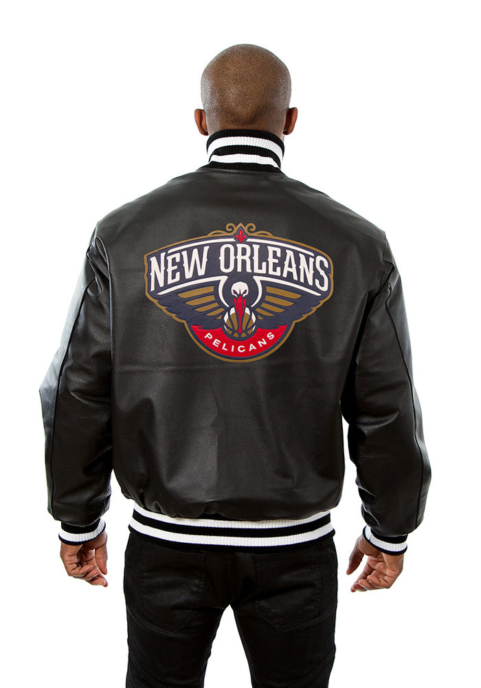 New Orleans Pelicans Mens Black all leather jacket Heavyweight Jacket - Image 2