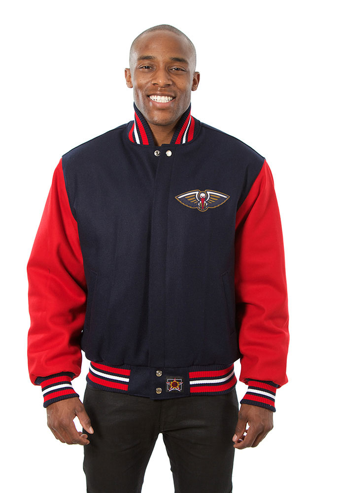New Orleans Pelicans Mens Navy Blue all wool jacket Heavyweight Jacket - Image 1