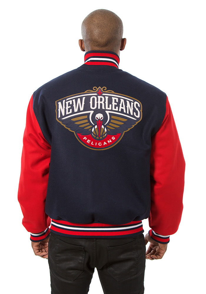 New Orleans Pelicans Mens Navy Blue all wool jacket Heavyweight Jacket - Image 2