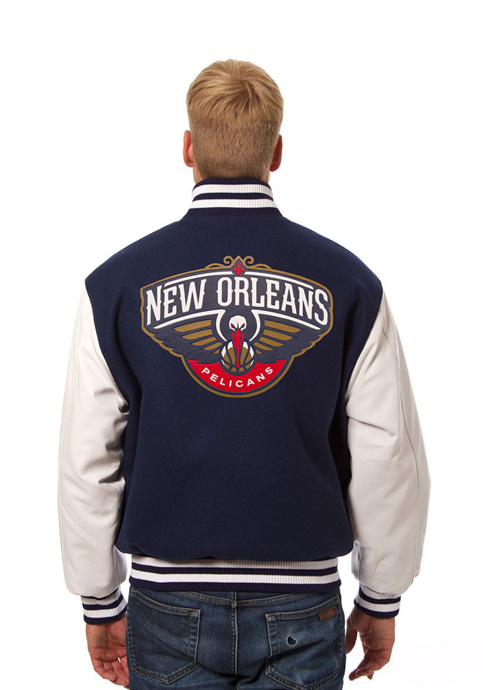 New Orleans Pelicans Mens Navy Blue wool body, leather sleeve jacket Heavyweight Jacket - Image 2