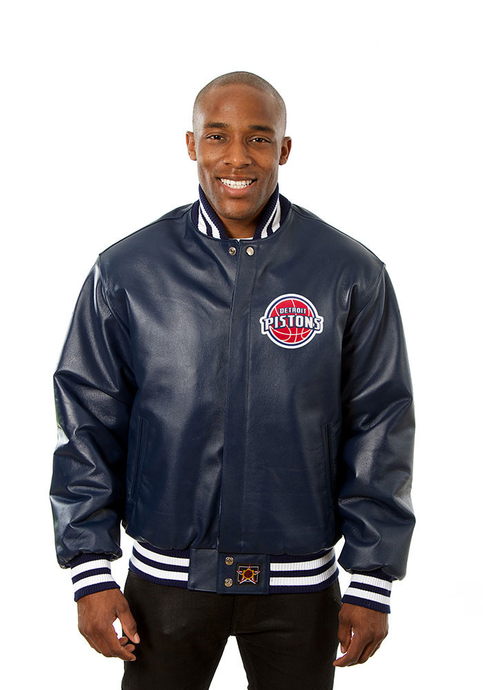 Detroit Pistons Mens Navy Blue all leather jacket Heavyweight Jacket - Image 1