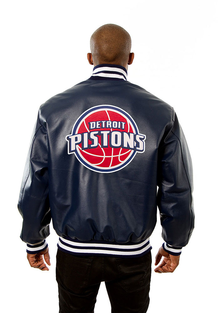 Detroit Pistons Mens Navy Blue all leather jacket Heavyweight Jacket - Image 2