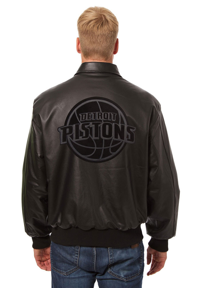 Detroit Pistons Mens Black all leather jacket Heavyweight Jacket - Image 2