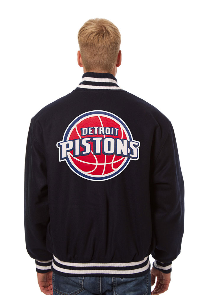 Detroit Pistons Mens Navy Blue all wool jacket Heavyweight Jacket - Image 2