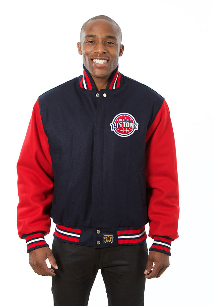 Detroit Pistons Mens Navy Blue all wool jacket Heavyweight Jacket - Image 1