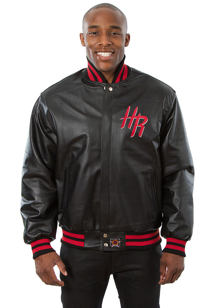 Houston Rockets Mens Black all leather jacket Heavyweight Jacket - Image 1