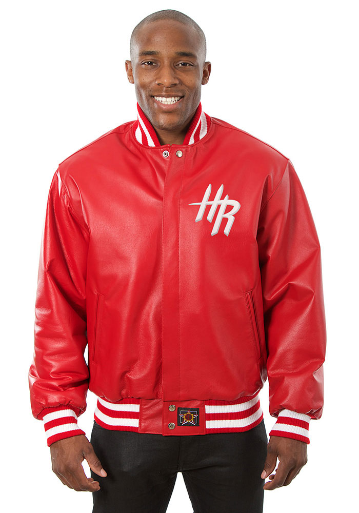 Houston Rockets Mens Red all leather jacket Heavyweight Jacket - Image 1