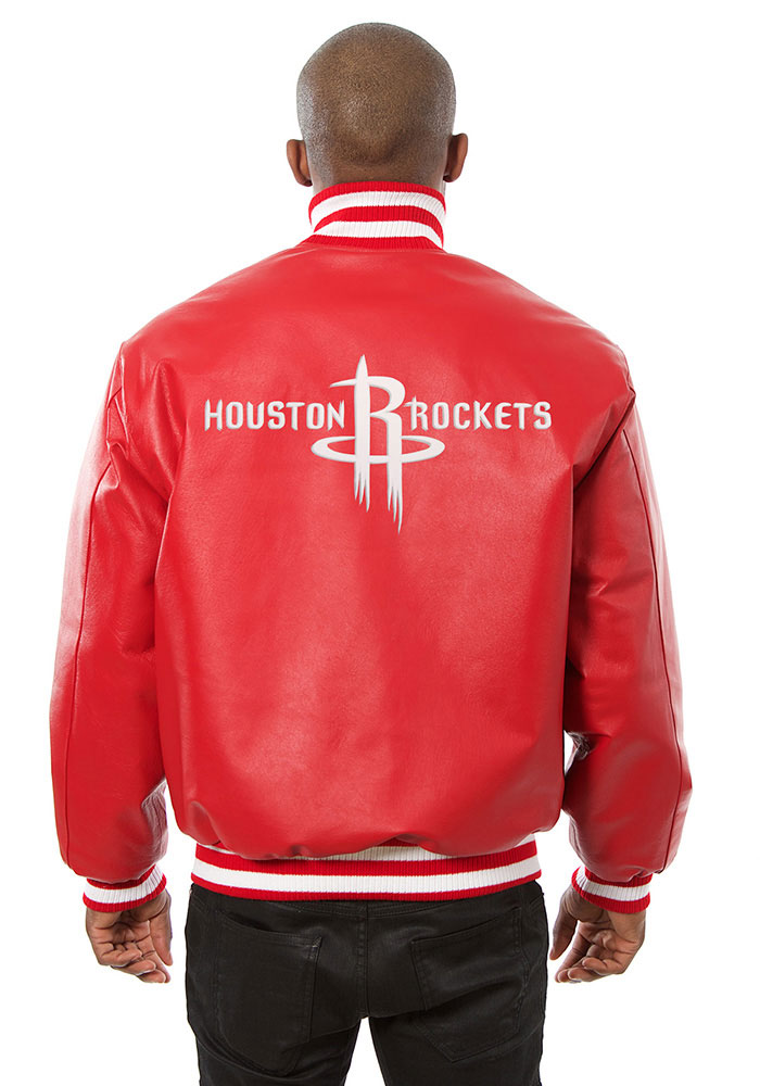 Houston Rockets Mens Red all leather jacket Heavyweight Jacket - Image 2