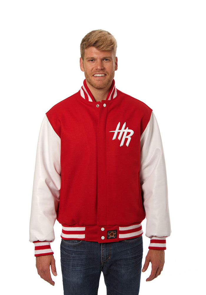 Houston Rockets Mens Red wool body, leather sleeve jacket Heavyweight Jacket - Image 1
