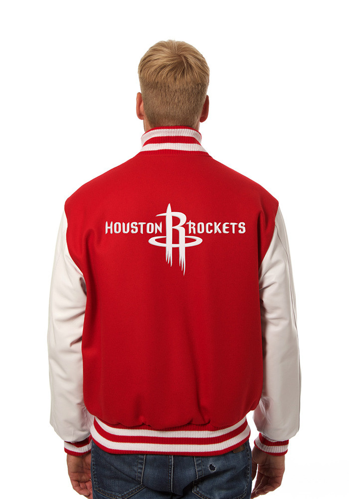 Houston Rockets Mens Red wool body, leather sleeve jacket Heavyweight Jacket - Image 2
