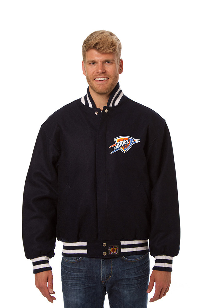 Oklahoma City Thunder Mens Navy Blue all wool jacket Heavyweight Jacket - Image 1