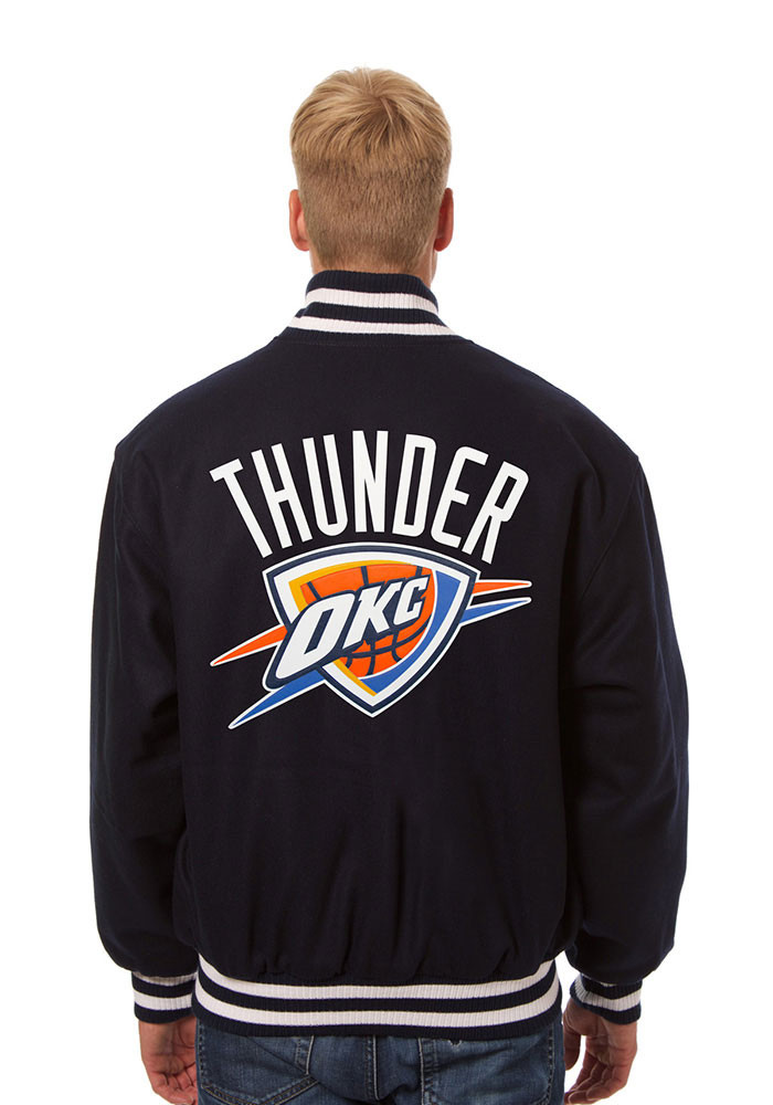 Oklahoma City Thunder Mens Navy Blue all wool jacket Heavyweight Jacket - Image 2