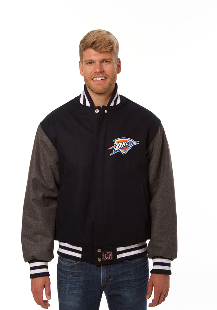 Oklahoma City Thunder Mens Blue all wool jacket Heavyweight Jacket - Image 1