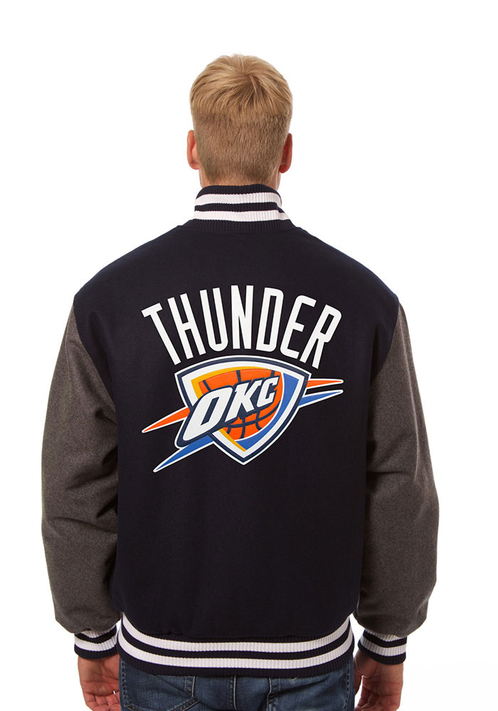 Oklahoma City Thunder Mens Blue all wool jacket Heavyweight Jacket - Image 2