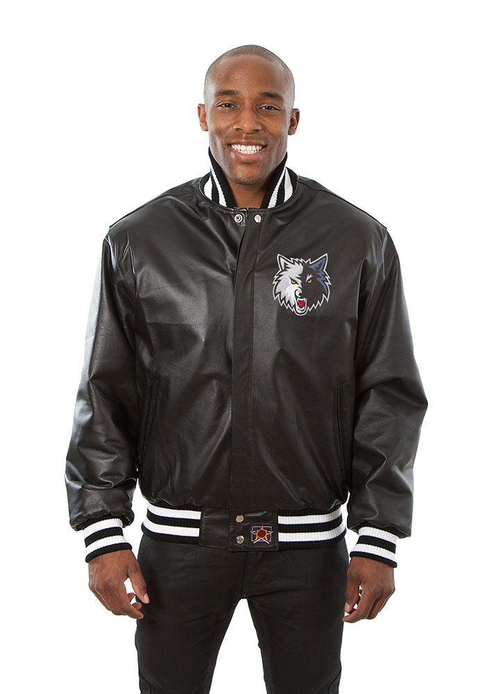 Minnesota Timberwolves Mens Black all leather jacket Heavyweight Jacket - Image 1