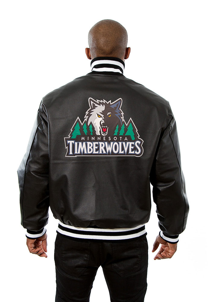 Minnesota Timberwolves Mens Black all leather jacket Heavyweight Jacket - Image 2